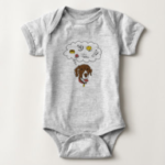 Photo of baby bodysuit with line drawing GSP thinking about treats and toys