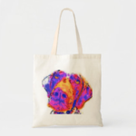 Photo of canvas tote bag with colorful GSP face screened on it